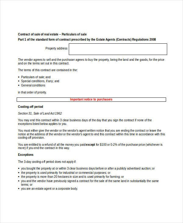 property contract sample
