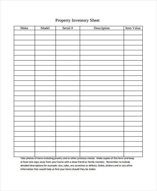 15  inventory sheet templates