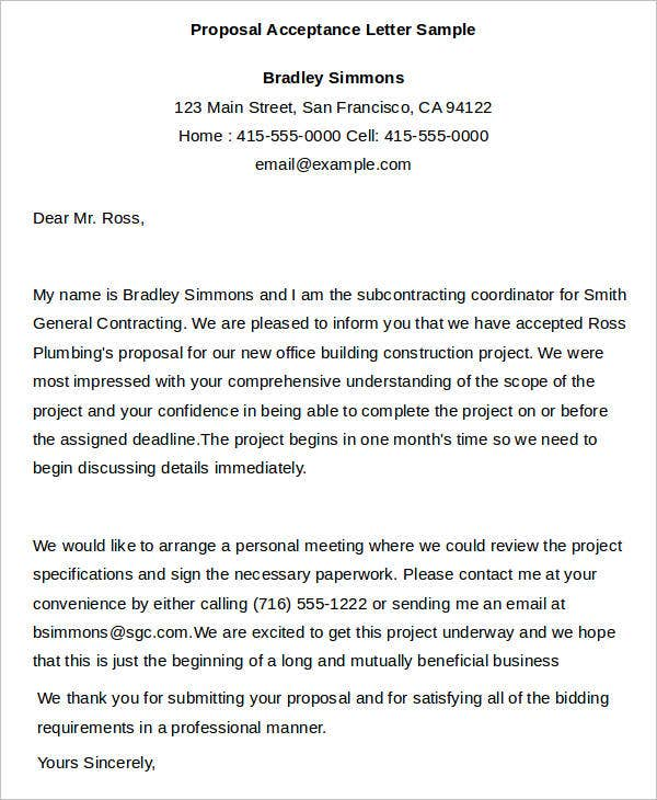 acceptance letter samples business proposal acceptance letter