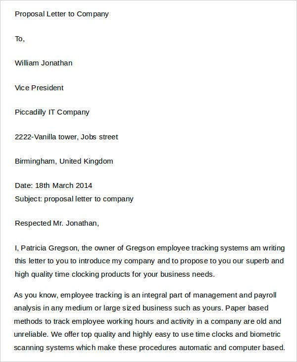 Proposal Letter to Company