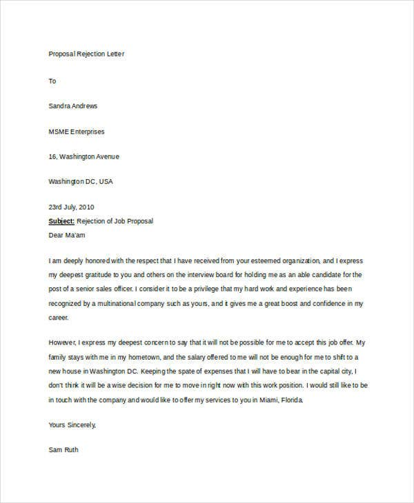 12 polite rejection letter free sample example format download proposal rejection spiritdancerdesigns Gallery