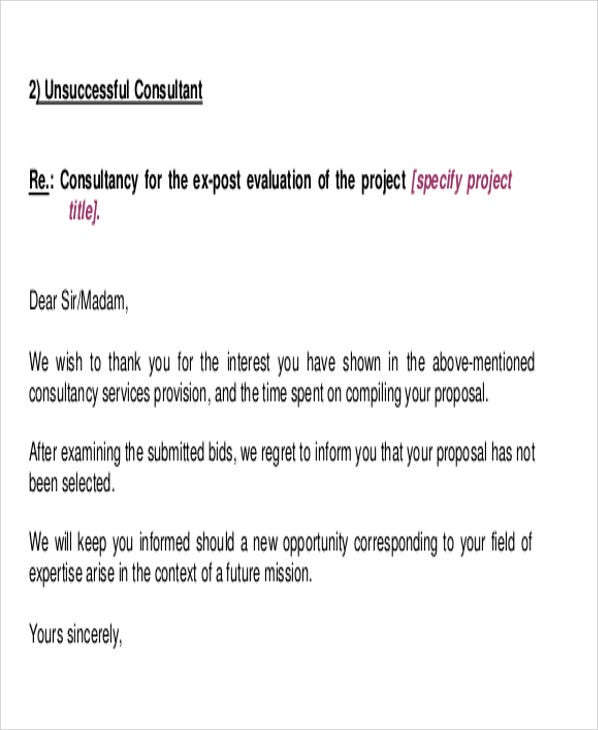 9 rejection thank you letter free sample example format download proposal rejection afd details file format expocarfo Image collections