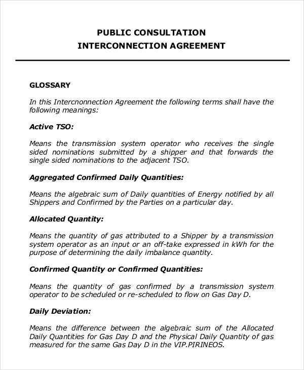 Interconnection agreement templates 12 free word pdf for Consultation agreement template