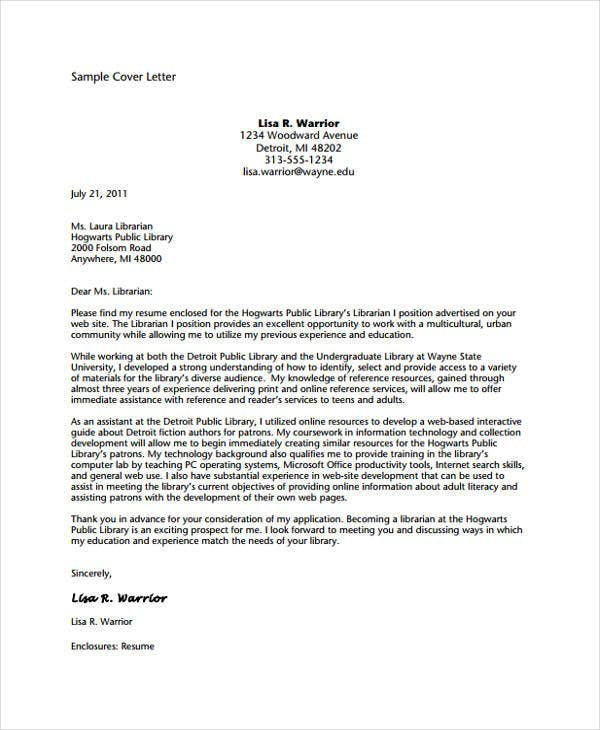Librarian Cover Letter  Free  Premium Templates