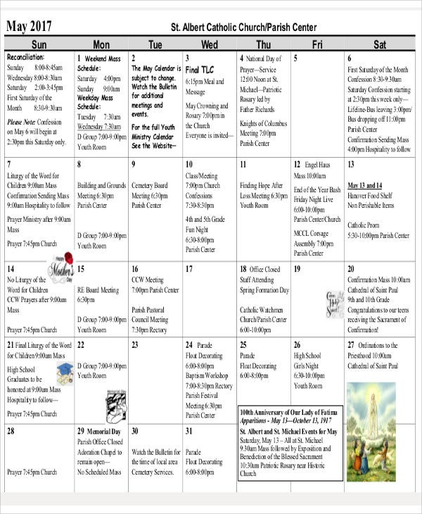 publisher calendar sample