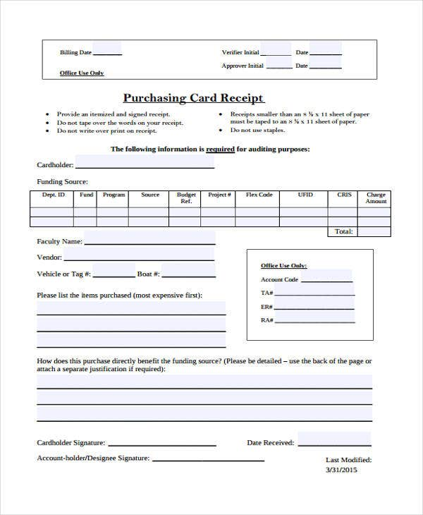 7 Purchase Receipt Templates Free Sample Example Format Download