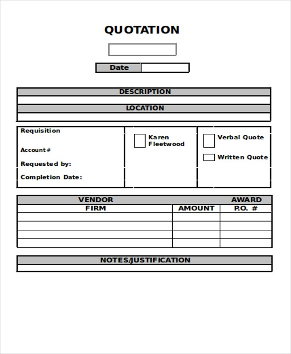 Purchase Quotation Templates   Free Word  Format Download