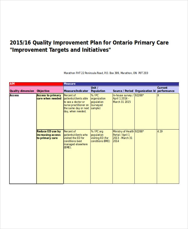 quality improvement work plan
