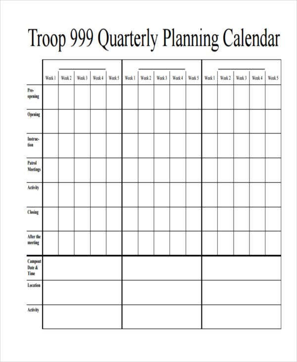 10+ Planning Calendar Templates - Free Sample, Example Format