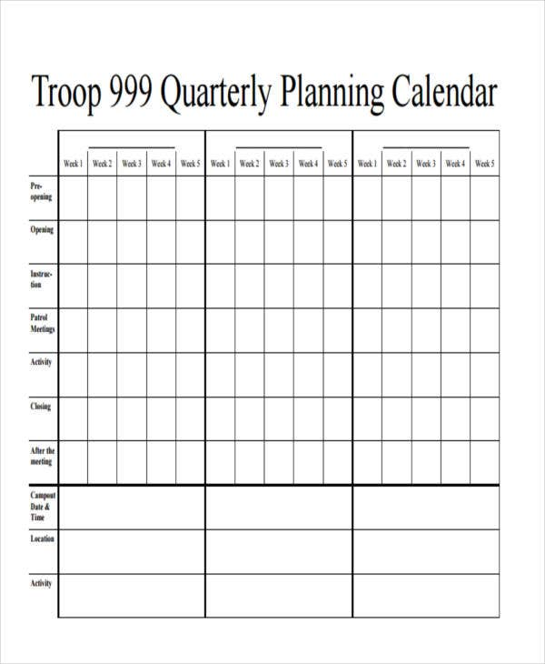Quarterly Planning  Calendar Templates For Word