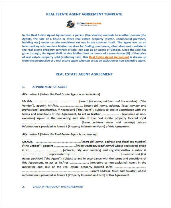 Agent Contract Templates 9 Free Word Pdf Format Download Free