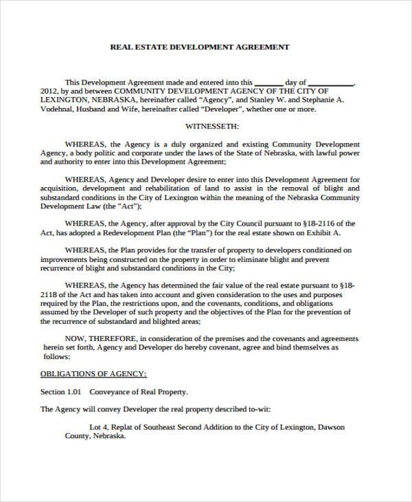 Development Agreement Template