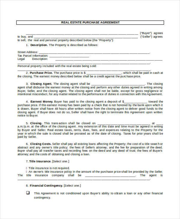 Real Estate Contract Template  Purchasing Contract Template