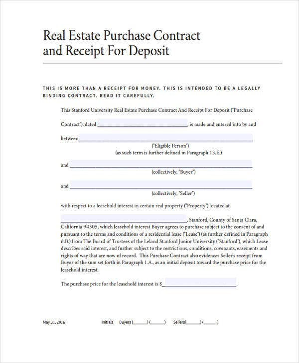 real estate deposit