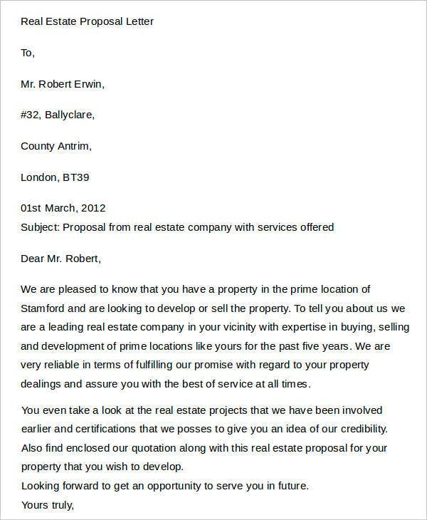 Real Estate Proposal Letter