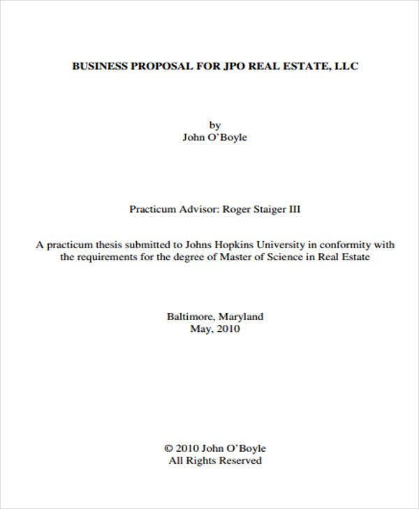 Real Estate Business Proposal Templates  Free Sample Example