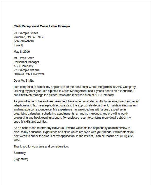 10 clerical cover letter templates free sample example format