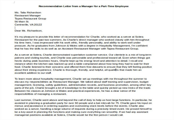 recommendation letter for part time employee