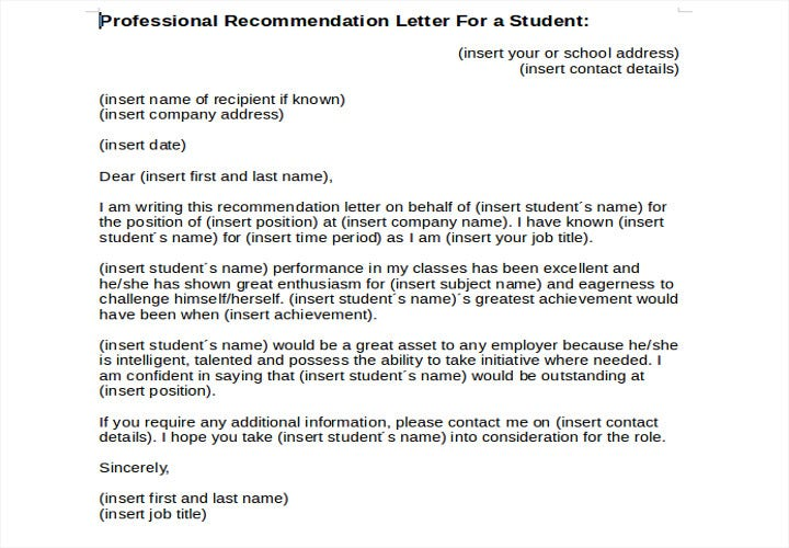 recommendation letter for a student