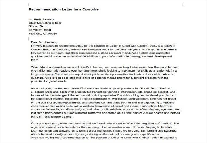 recommendation letter by a coworker