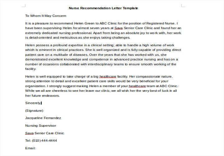 recommendation letter for nursing job