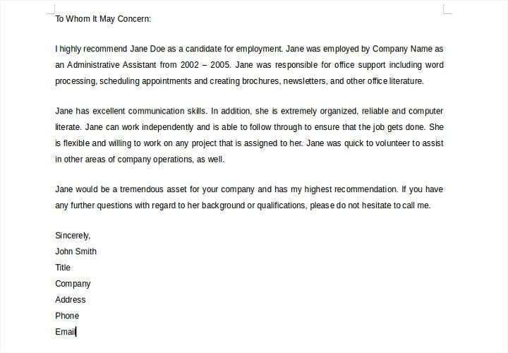 recommendation letter for previous employee
