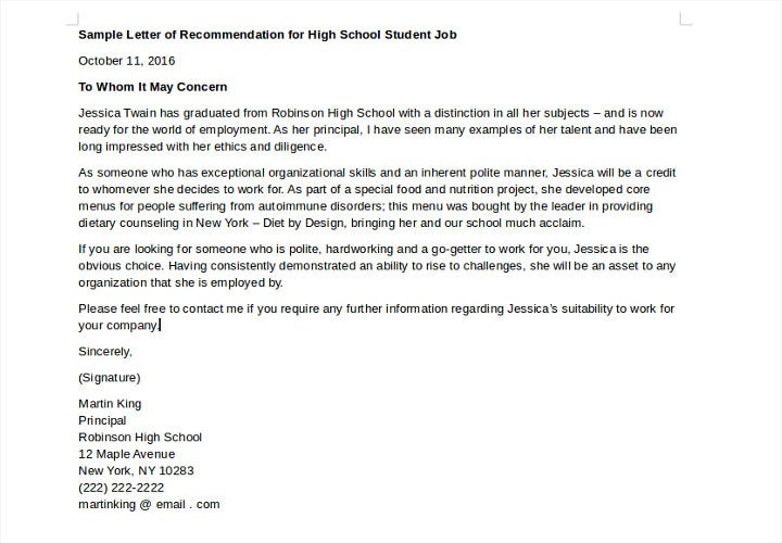 recommendation for high school student job