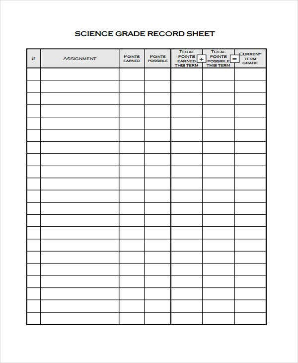 9 grade sheet templates free sample example format download