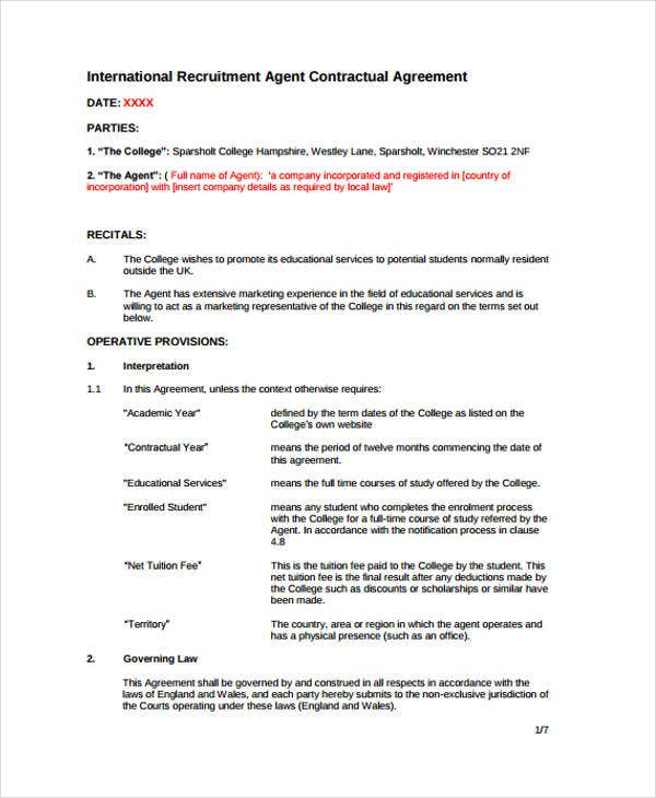 recruitment agreement