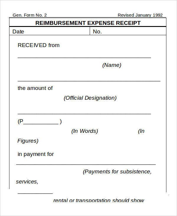 4 Expense Receipt Templates Free Sample Example Format