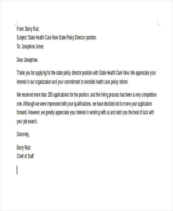 10 Standard Rejection Letter Sample Example Free