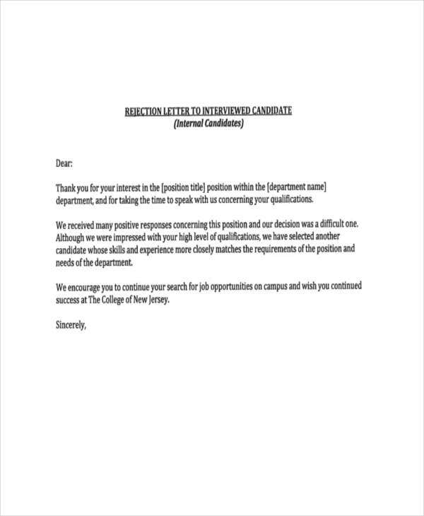 Polite Rejection Letters   Free Word Pdf Format Download