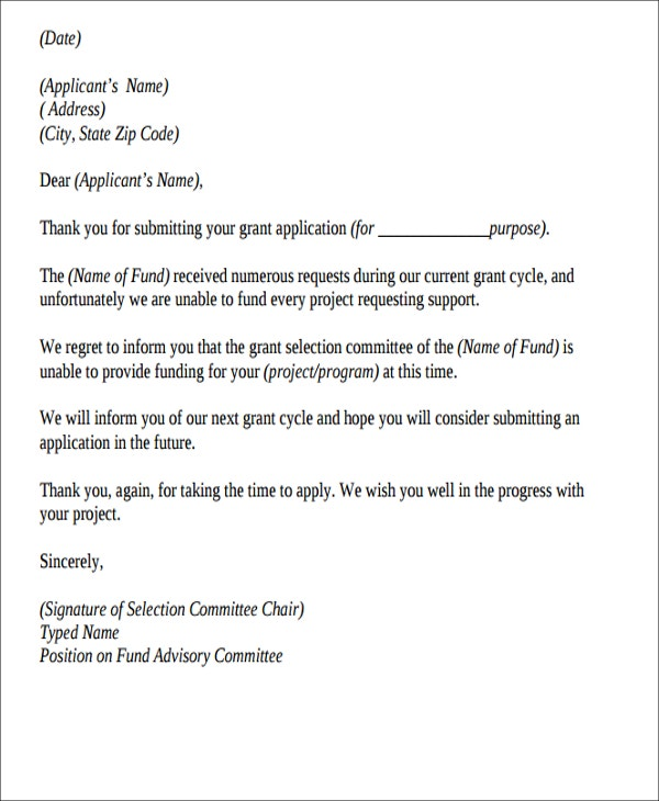 rejection letter to applicant