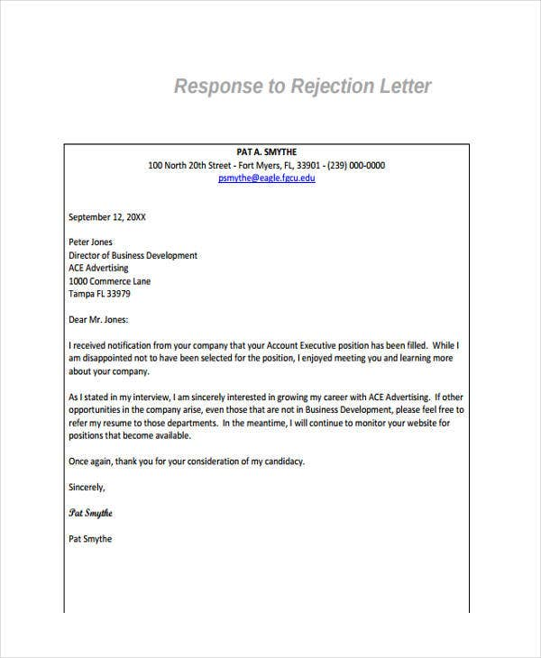rejection response letter
