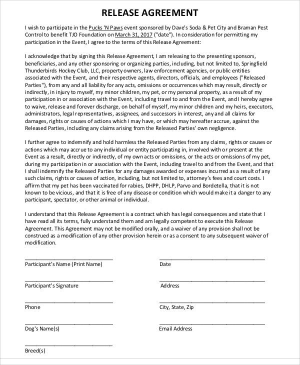 Release Agreement Templates  Free Sample Example Format
