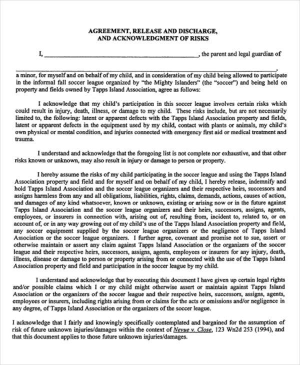 Release Agreement Templates   Free Word Pdf Format Download
