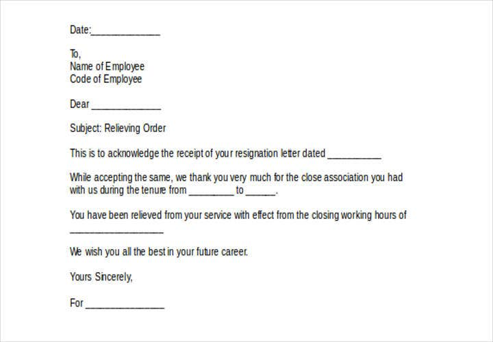 relieving letter example