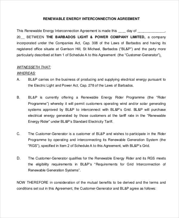 renewable energy agreement