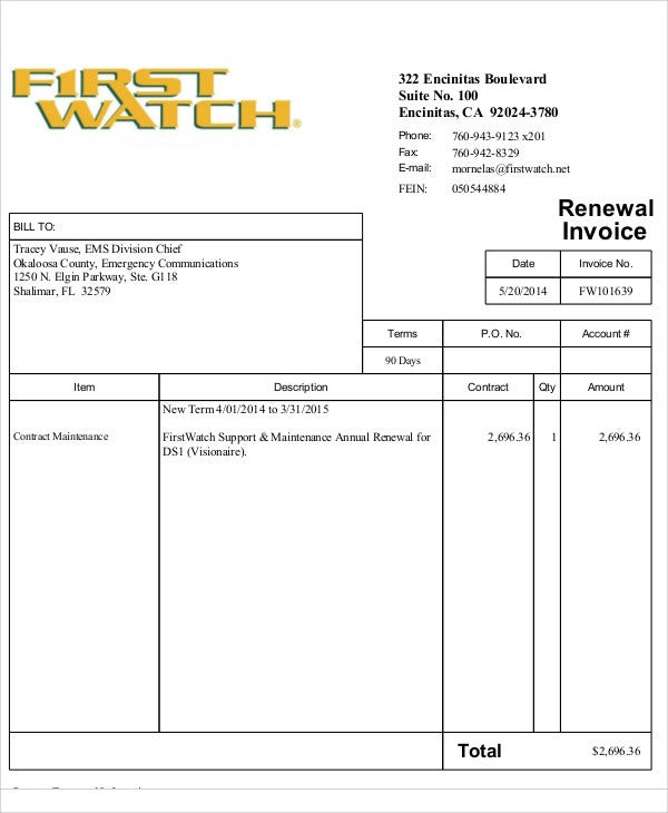 Maintenance Invoice Template Free Sample Example Format - Maintenance invoice template