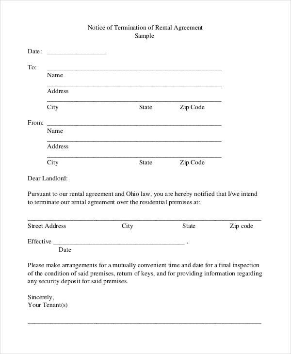 rental agreement termination