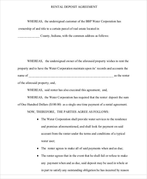 Deposit Agreement Template 20 Free Word Pdf Format