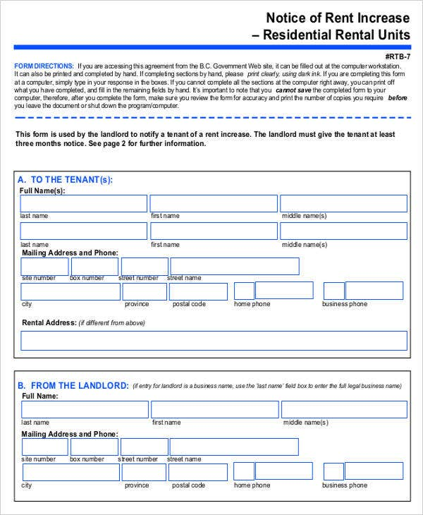 Rental Notice Templates   Free Word Pdf Format Download  Free