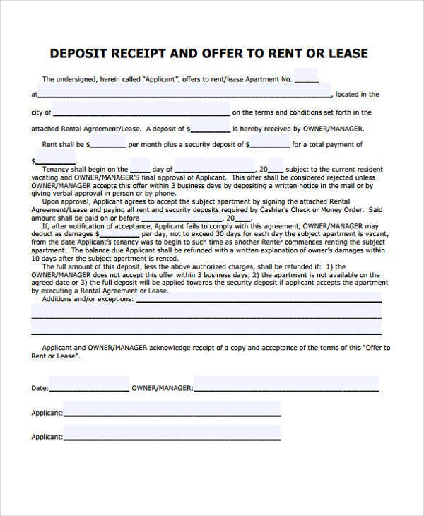 rental lease receipt