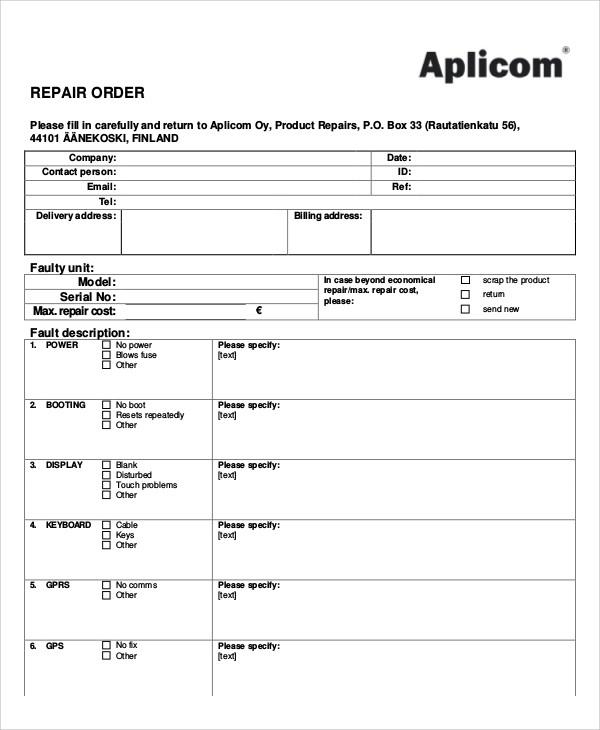 repair order for product