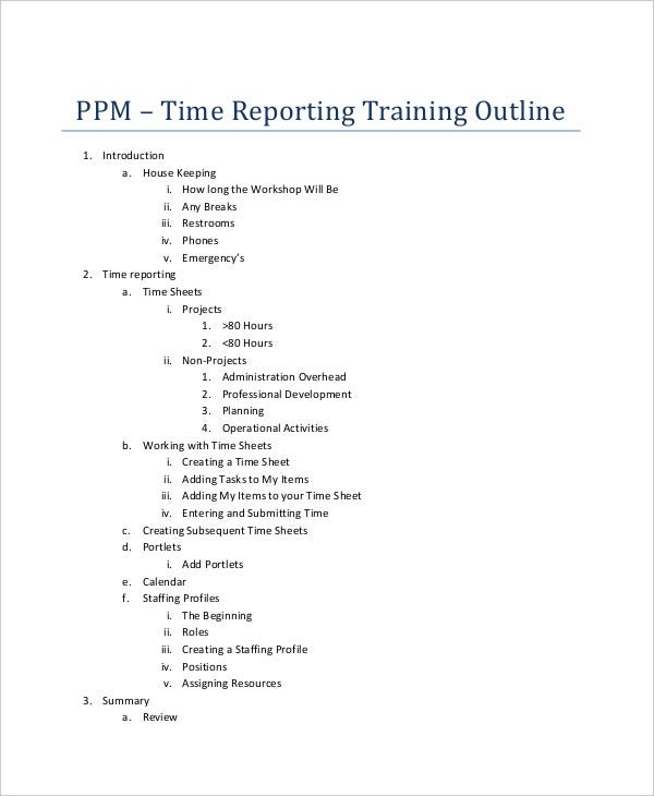 reporter training outline