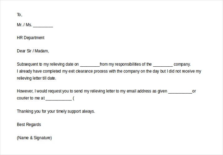 request for relieving letter on email