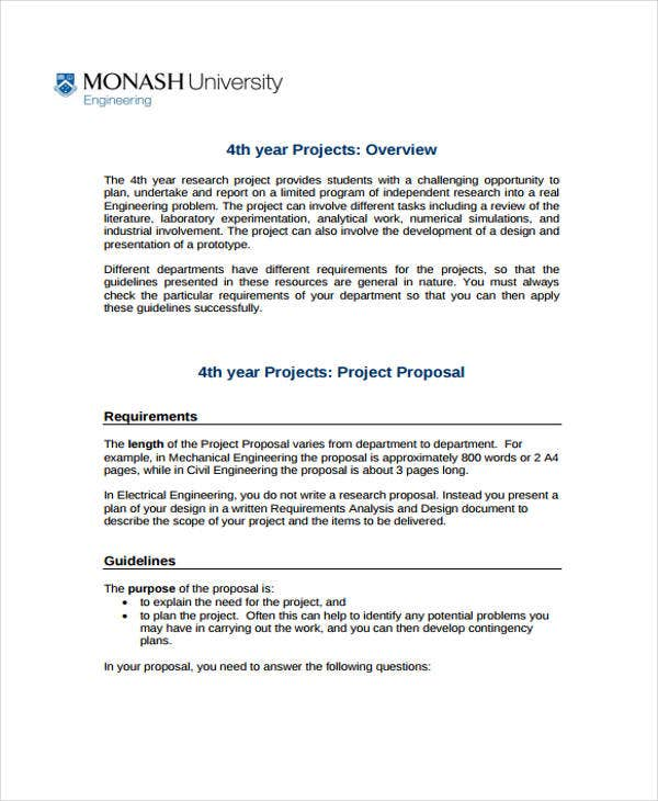 Engineering Project Proposal Templates  Word Pdf  Free