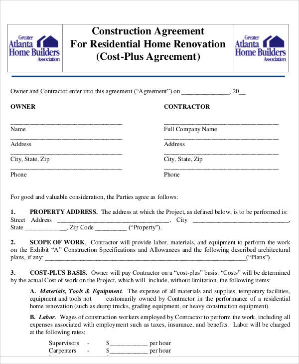 9 construction agreement templates free samples for Home builder contracts