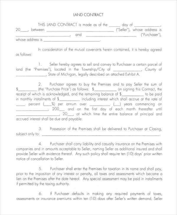 Land Contract Templates  Free Word Pdf Format Download  Free