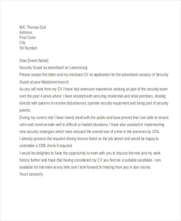 8 security guard cover letters free sample example format learnist details file format spiritdancerdesigns Image collections